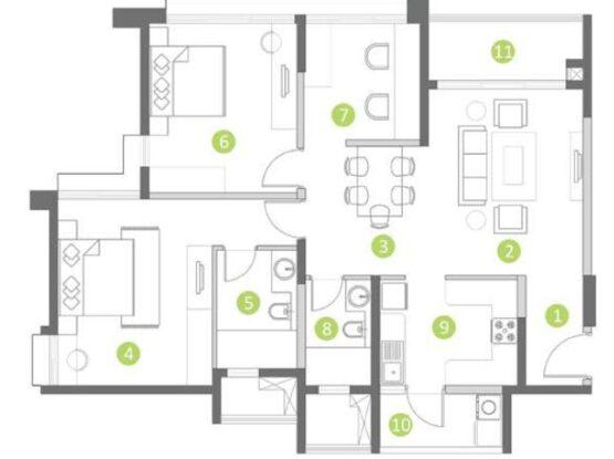 Shapoorji Pallonji Parkwest 2.0 Floor Plan 2.5 bhk