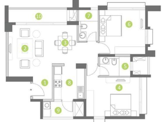 Shapoorji Pallonji Parkwest 2.0 Floor Plan 2 bhk Type A