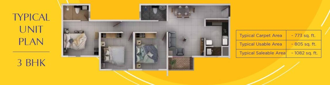 Provident Sundeck 3BHK Floor Plan