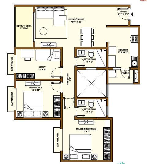 Nikoo Homes Phase 4 2.5 BHK Apartment