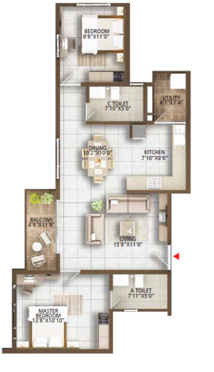 This is an Image of Concord Auriga 2 BHK Floor Plan