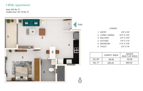 Adarsh Greens 1bhk Floor Plan