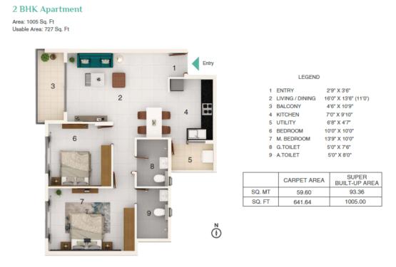 Adarsh Greens 2bhk Floor Plan